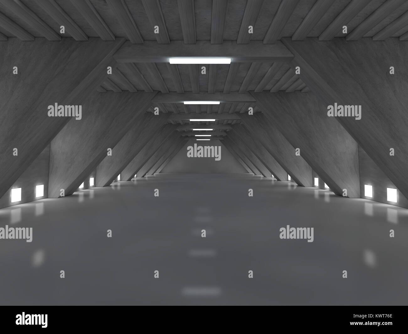 Dark empty room interior with lamps. 3D rendering Stock Photo