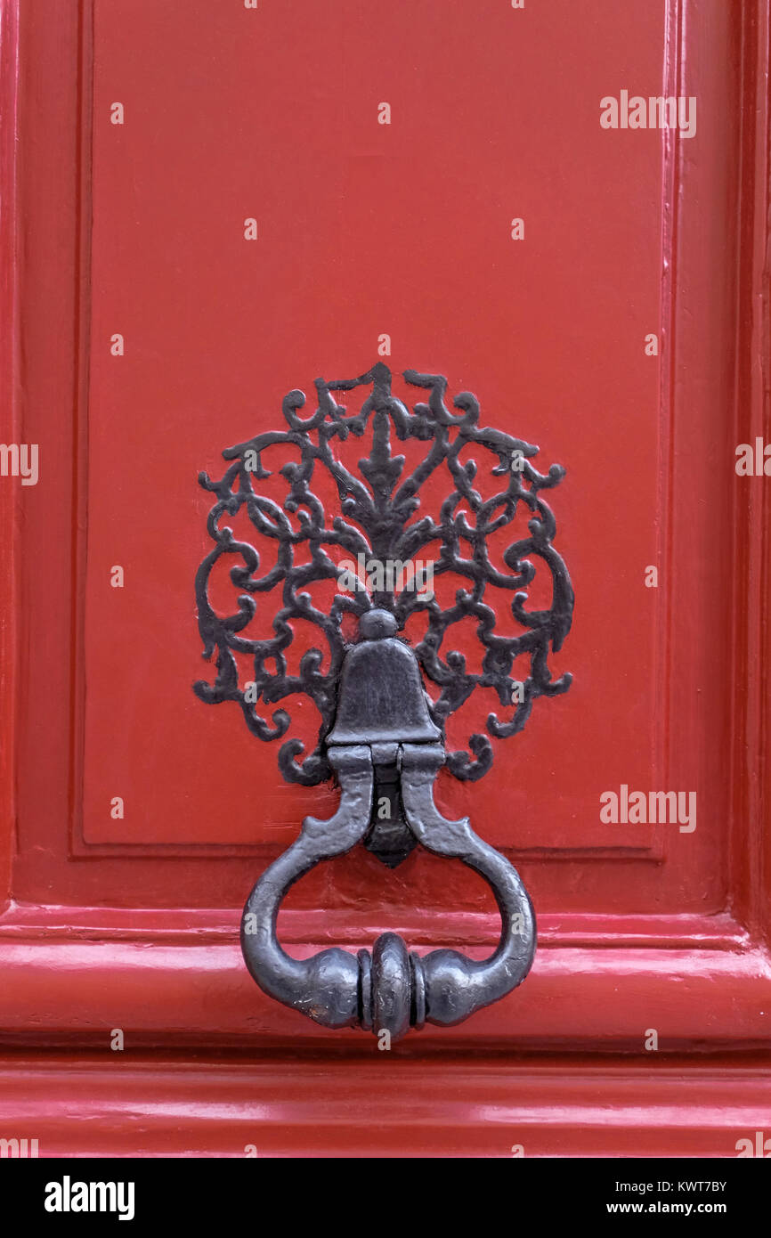 France, Paris, Front door knocker on private hotel in the 6th arrondissement - Stock Image
