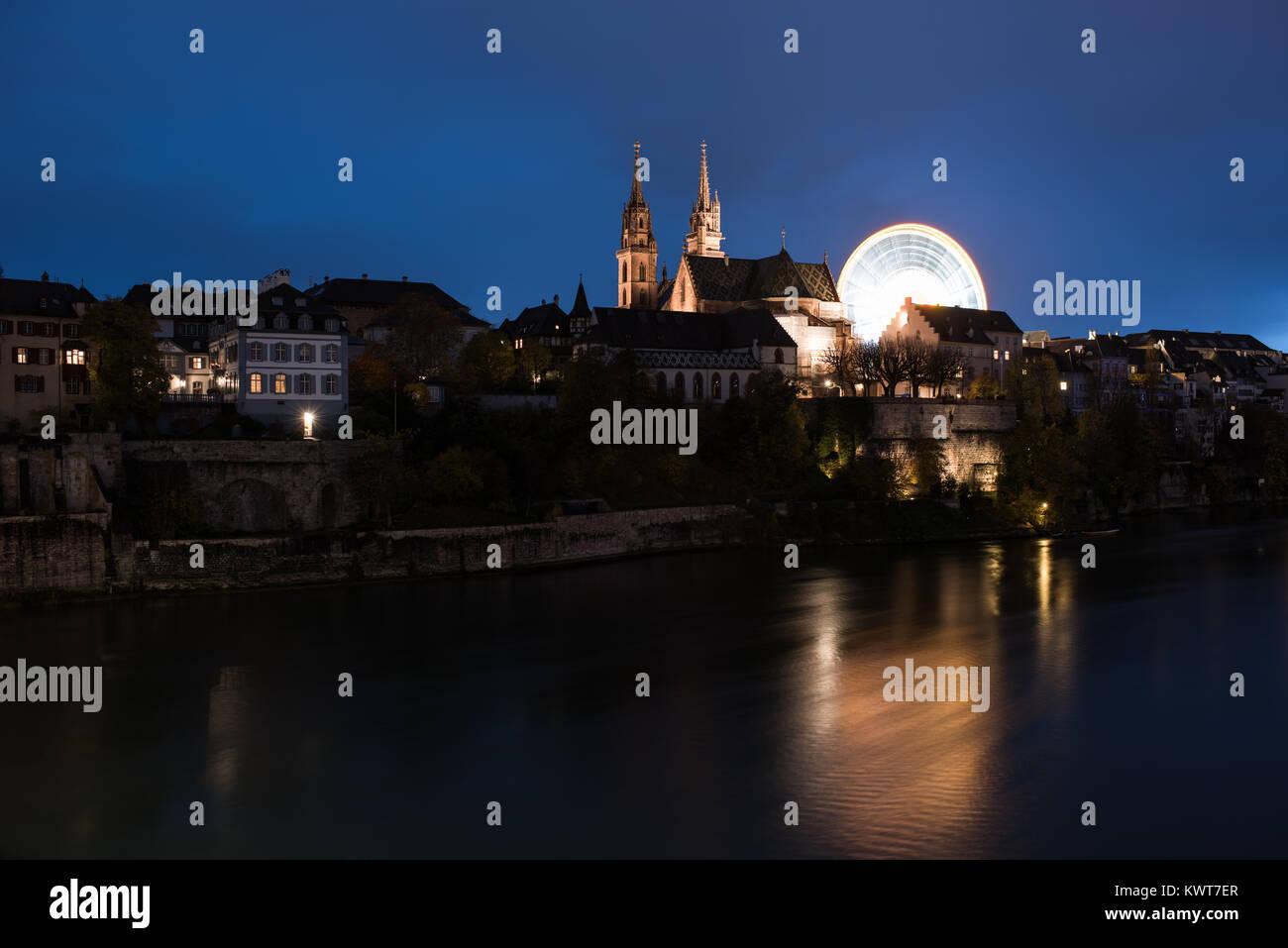 Basel switzerland cityscape at autumn fair Stock Photo
