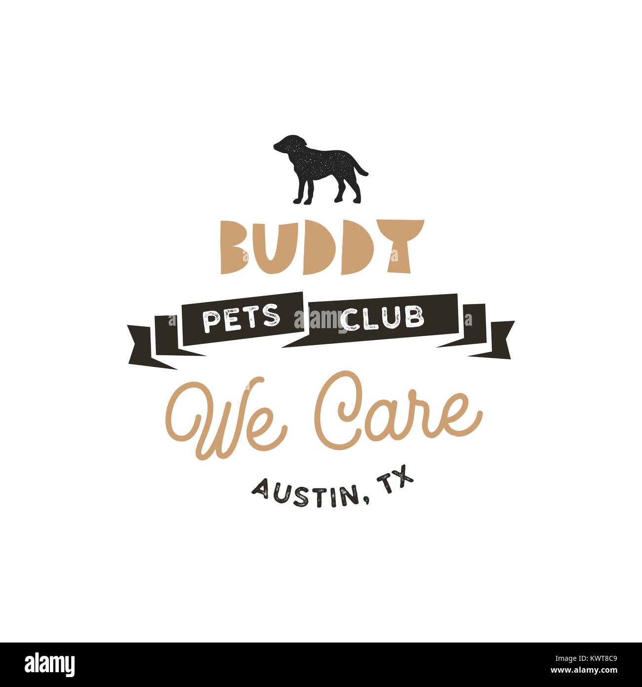 Buddy Pet Club Logo Template Silhouette Label Illustration Isolated On White Background Modern Animal Badge For Veterinary Clinic Food