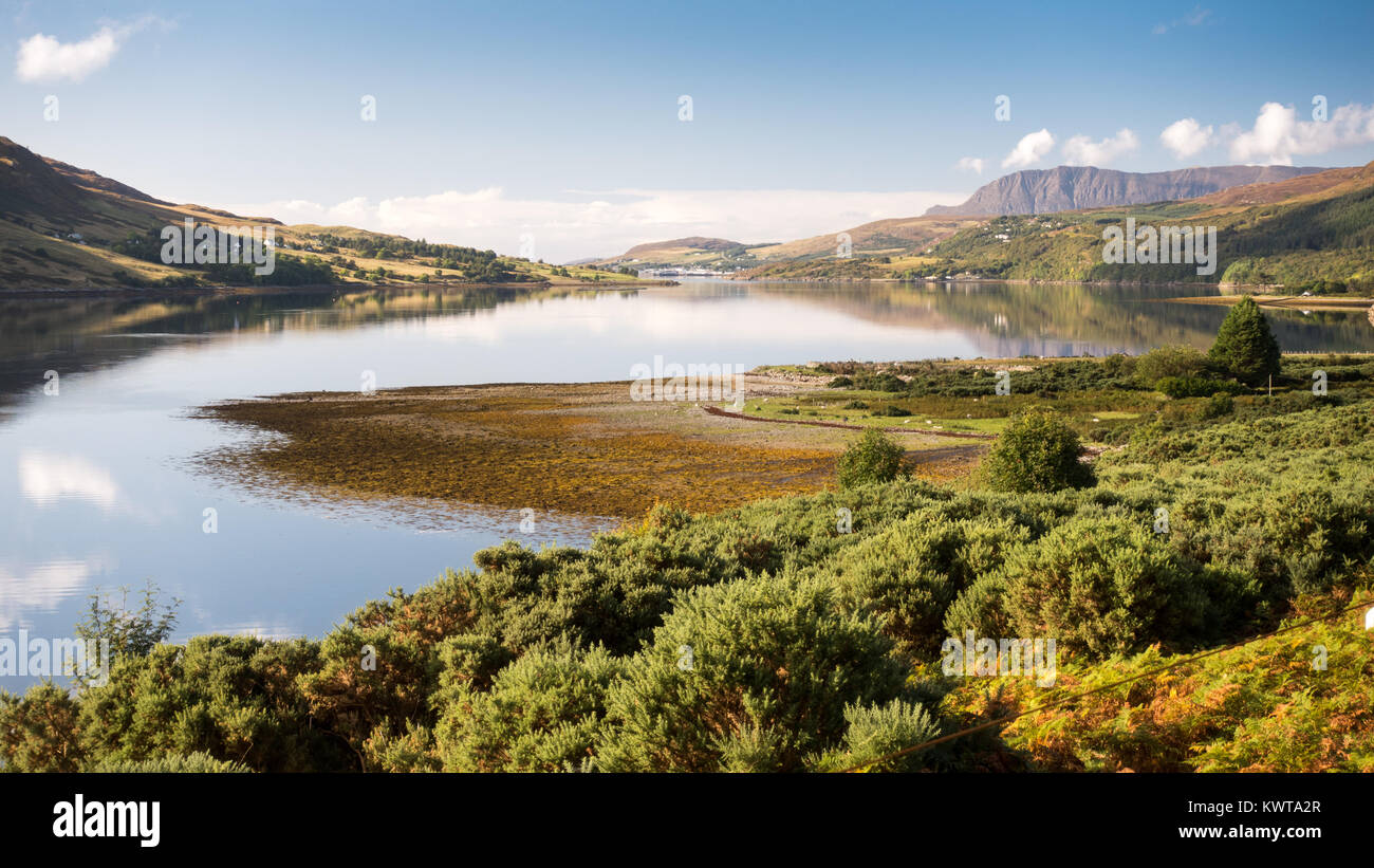 The mountains of Coigach and Rosshire rise from the shores of Loch Broom, an inlet of the Atlantic at Ullapool in Stock Photo