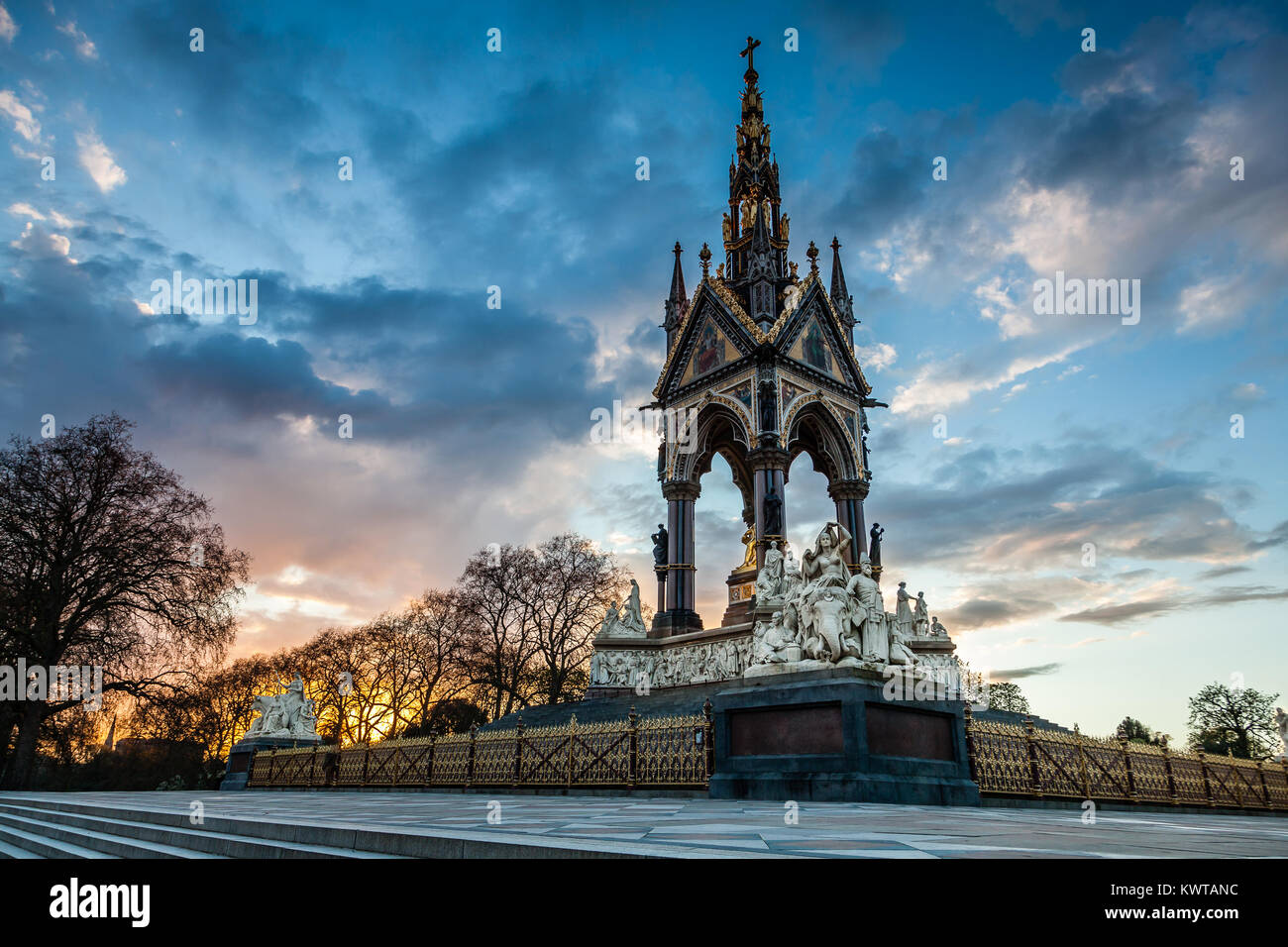 The Prince Albert Memorial monument in Kensington Gardens opposite to Hyde Park - Stock Image