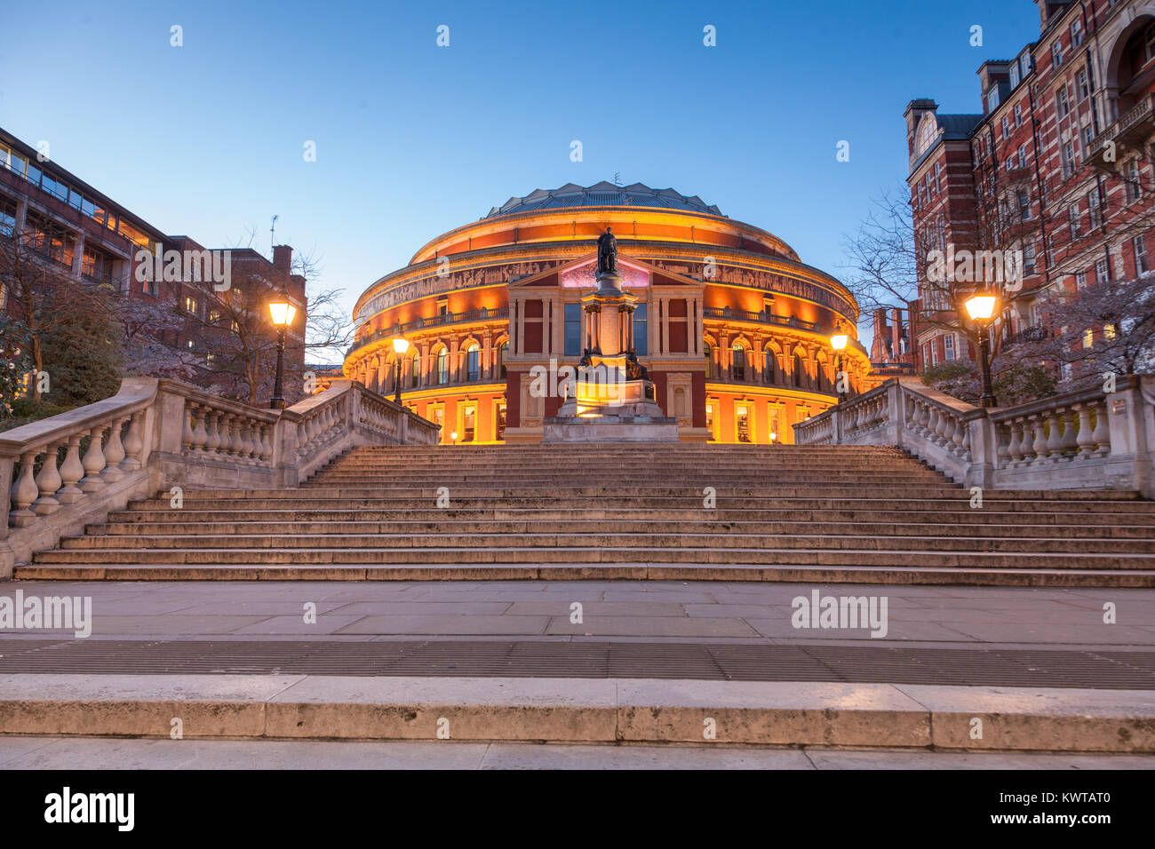 The Royal Albert Hall London, Victorian time architecture square - Stock Image