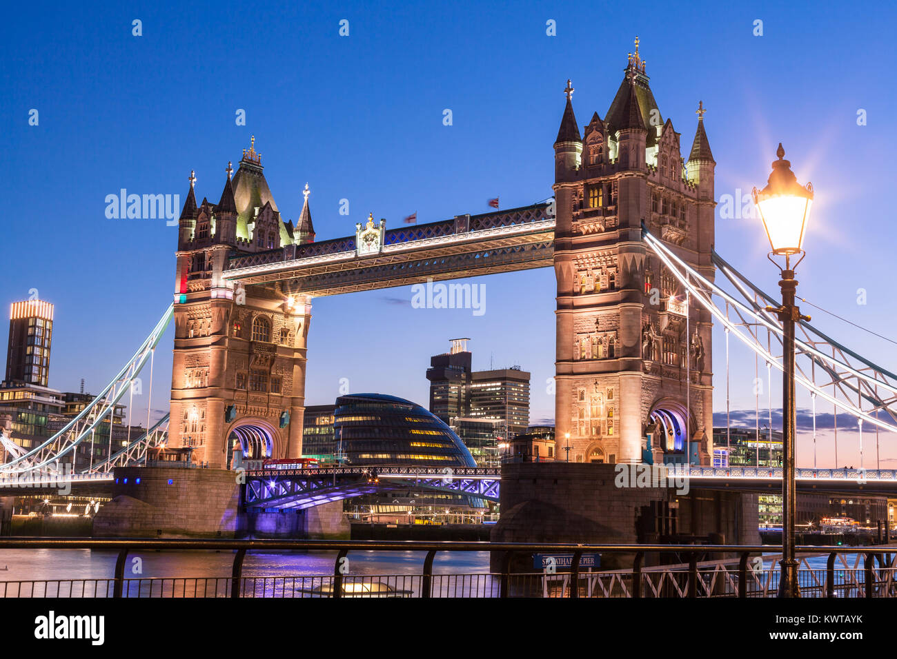 Illuminated Tower Bridge. London, England - Stock Image