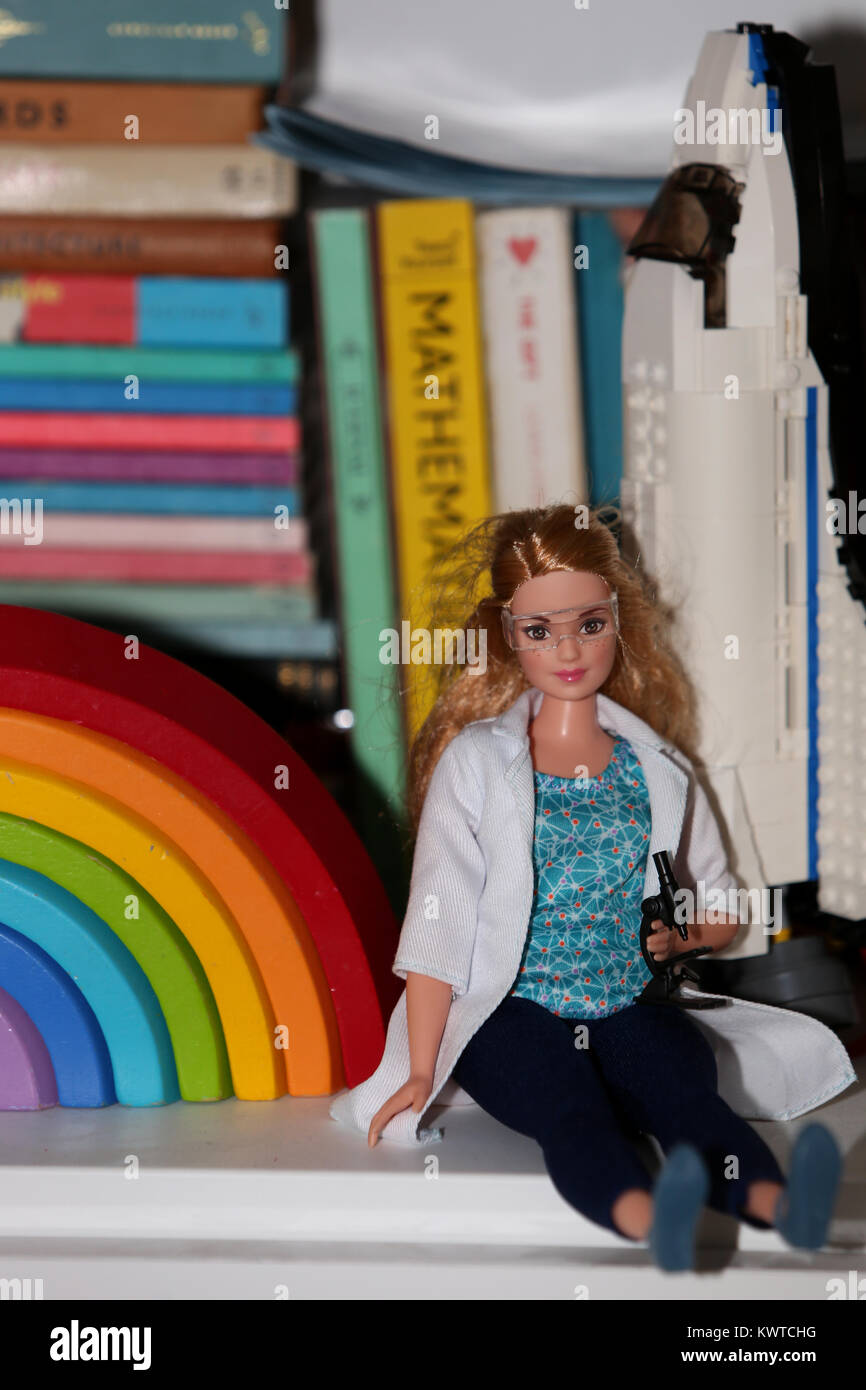 A Science Barbie Doll pictured at a home in Chichester, West Sussex, UK. Stock Photo