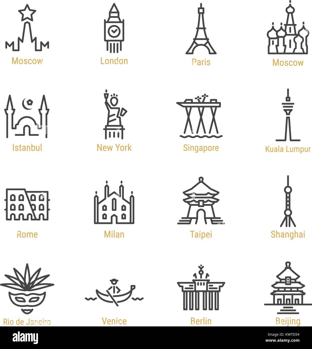 World Landmarks - Vector Line Icon Set - Part I - Stock Vector