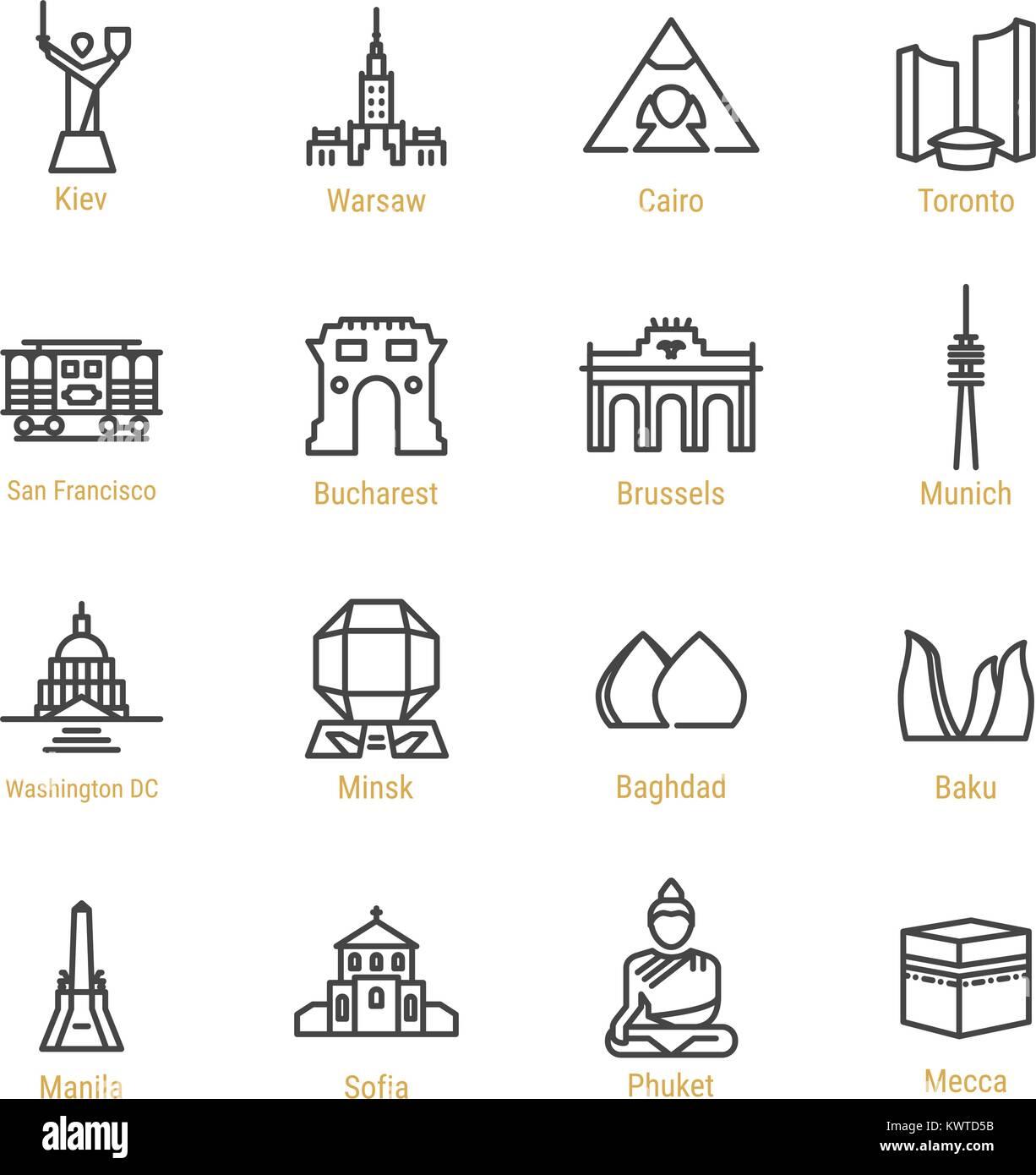 World Landmarks - Vector Line Icon Set - Part III - Stock Vector