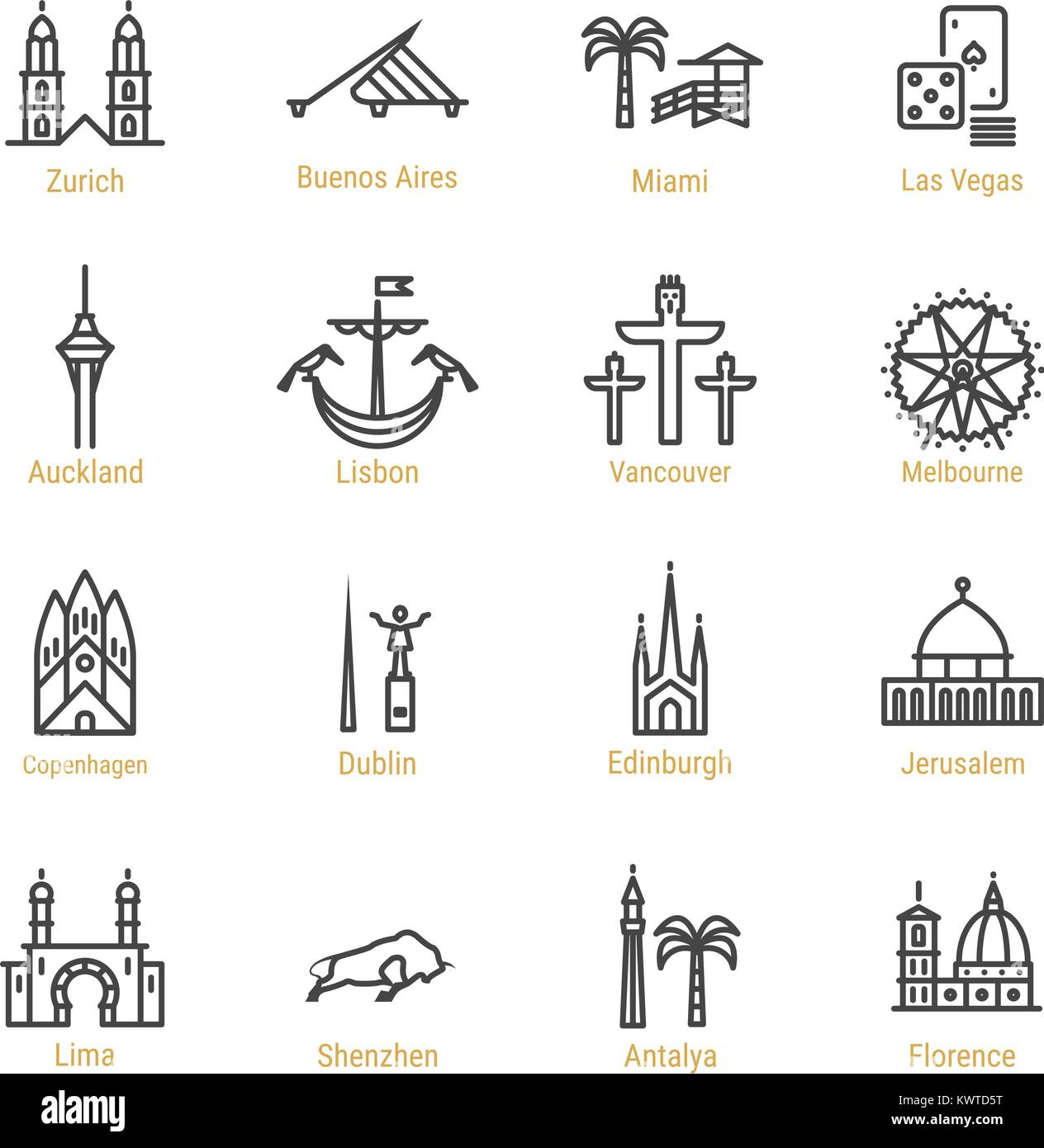 World Landmarks - Vector Line Icon Set - Part IV - Stock Vector