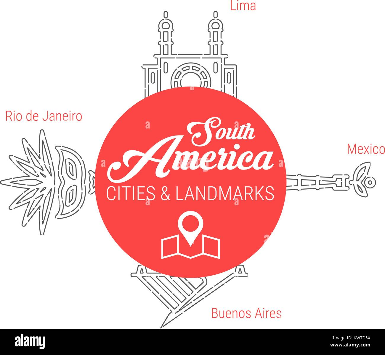 Famous South American Landmarks. Line Vector Icon Set - Stock Image