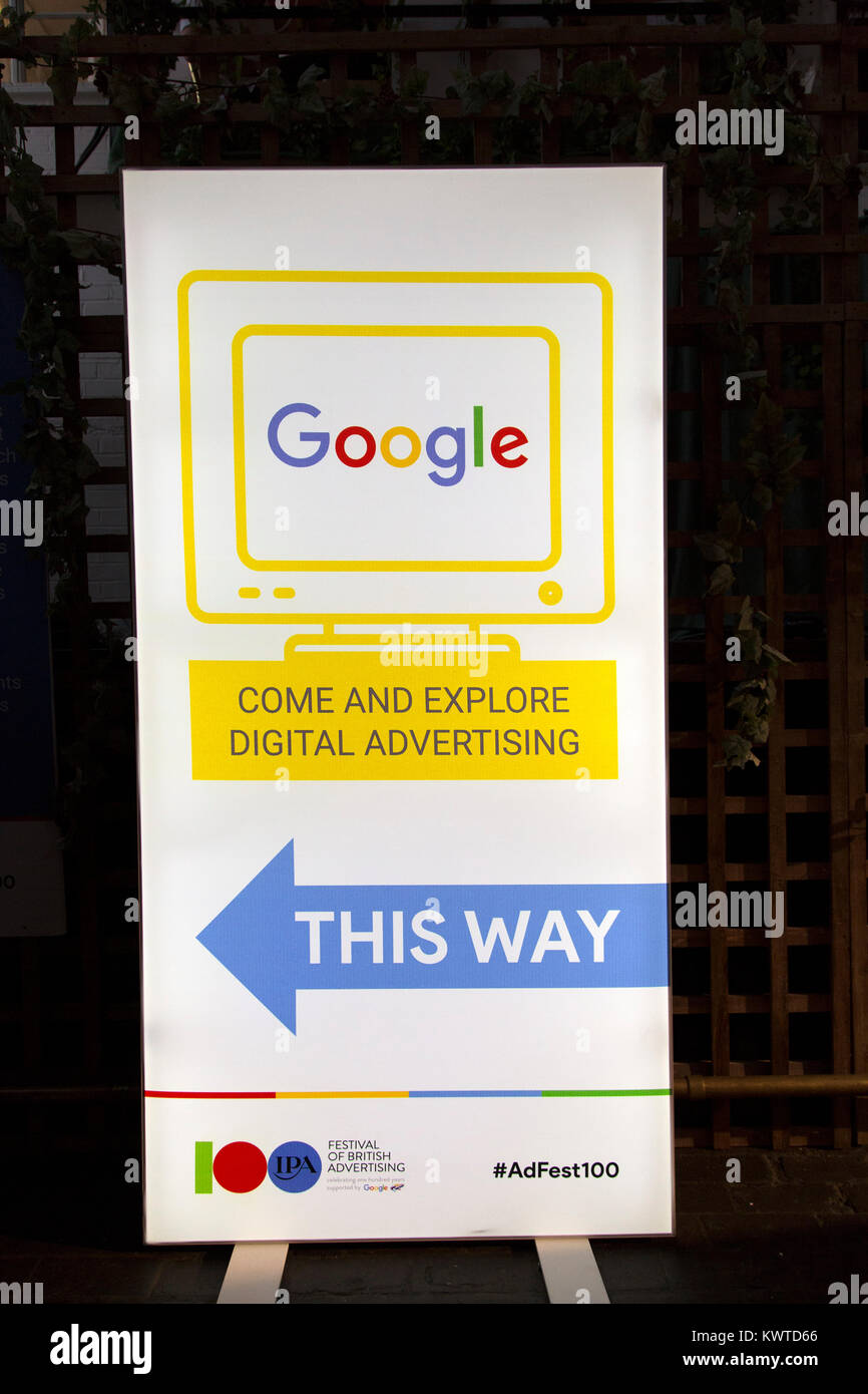 A sign for Adfest in London, England. The event was part of the Festival of British Advertising. - Stock Image