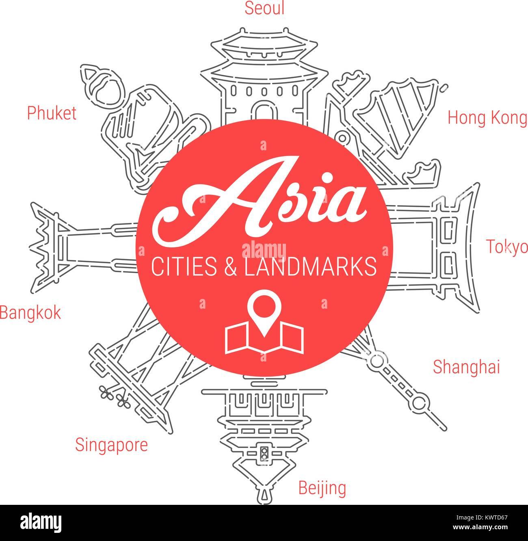 Famous Asian Landmarks. Line Vector Icon Set - Stock Vector