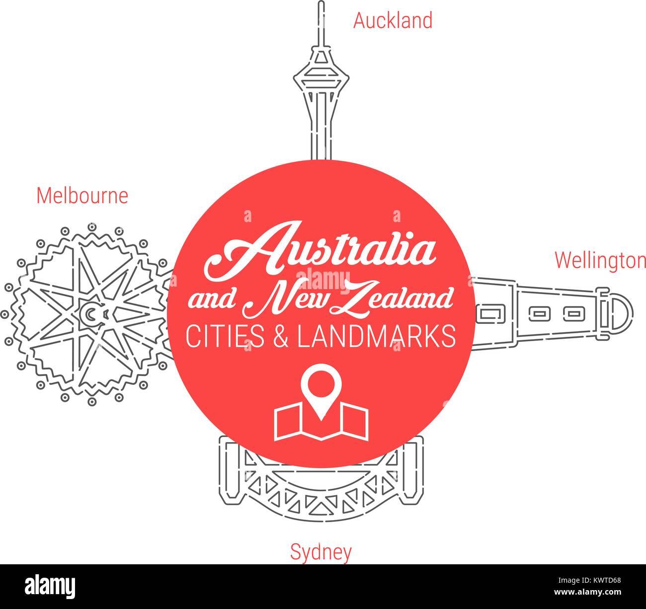Famous Australian and New Zealand Landmarks. Line Vector Icon Set - Stock Vector
