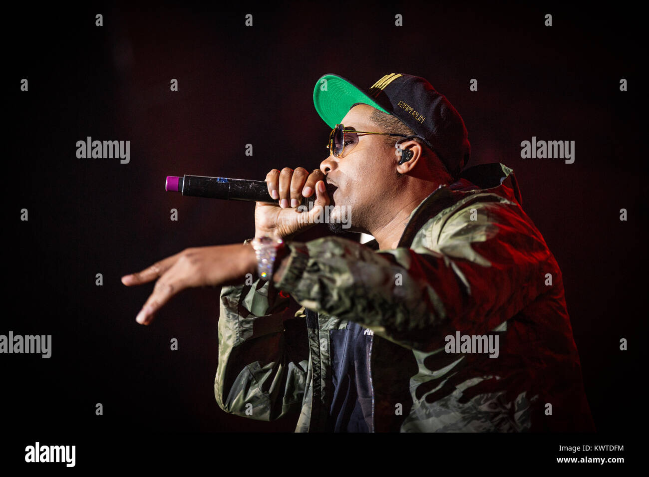 The American rapper and lyricist Nas performs a live concert during the Danish music festival Roskilde Festival Stock Photo