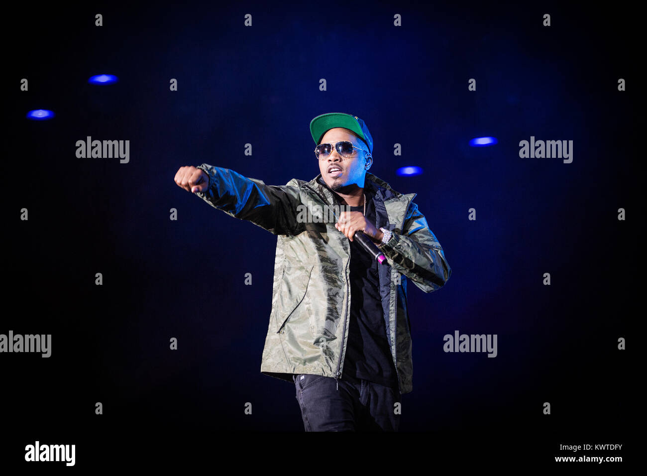 The American rapper and lyricist Nas performs a live concert during the Danish music festival Roskilde Festival - Stock Image