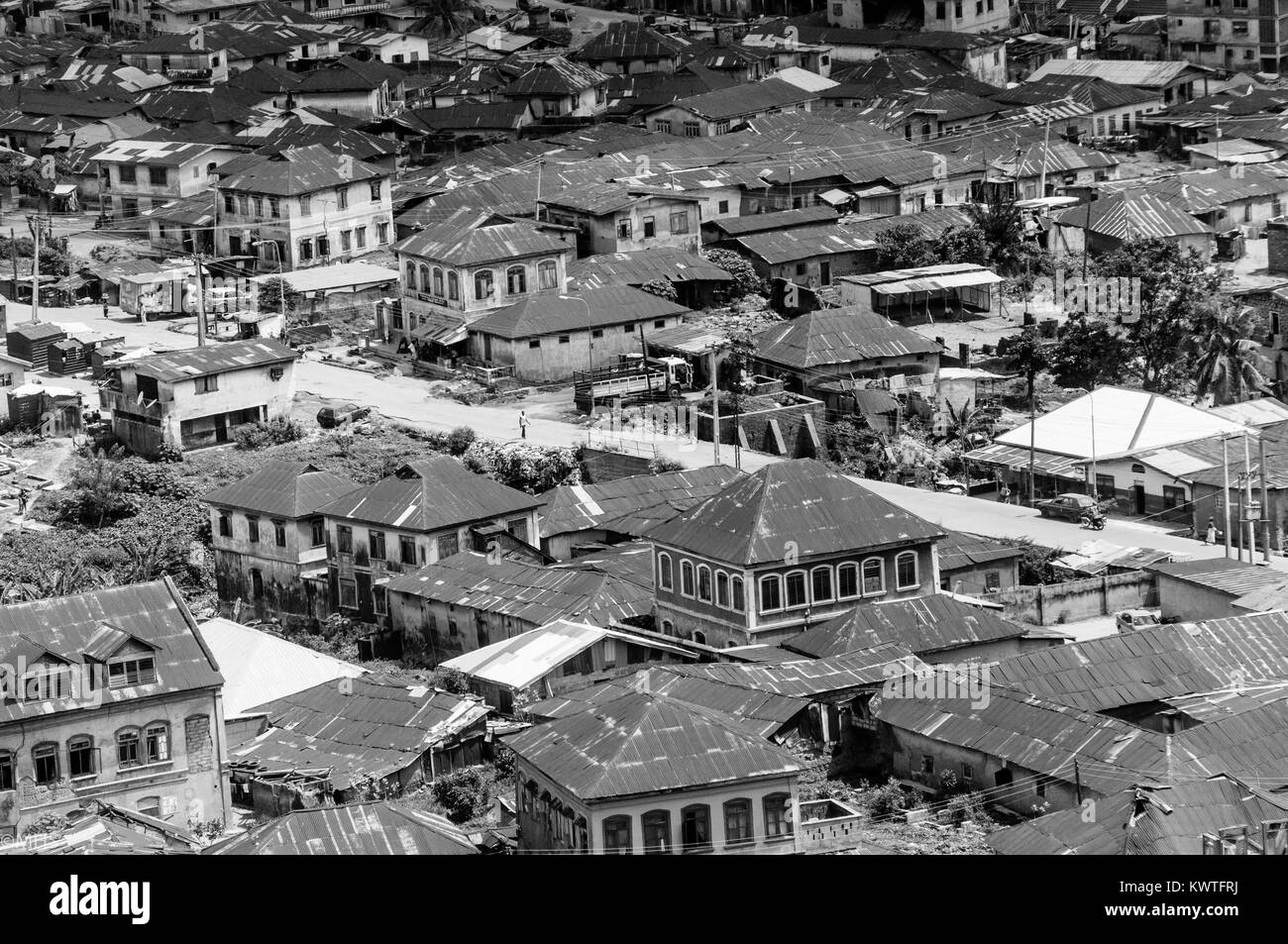 aerial shot of the abeokuta town in Ogun state, Nigeria. - Stock Image