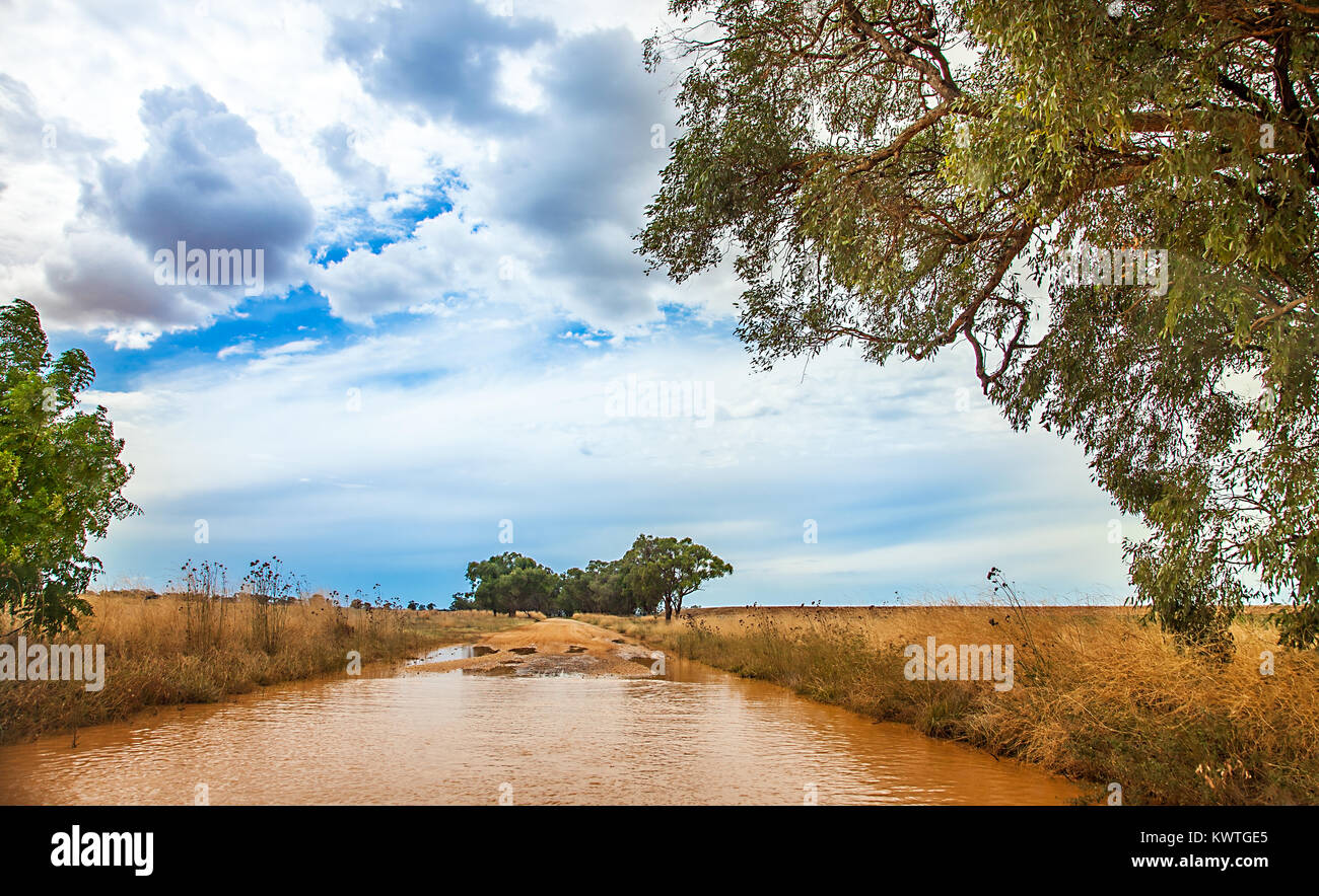 Flooded street in the outback at Dubbo Australia Stock Photo