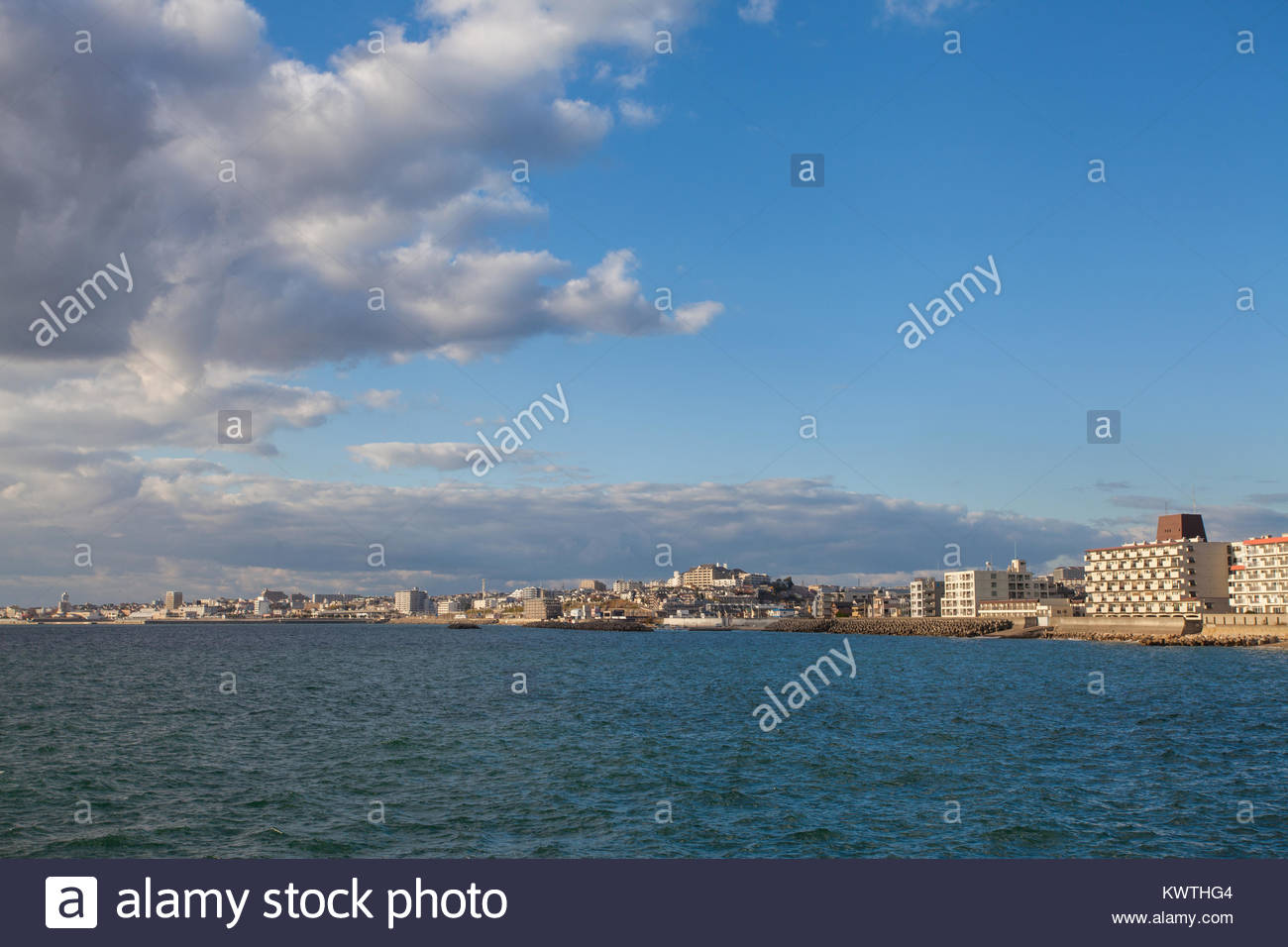 View of Kobe city from under Akashi Kaikyo bridge - Stock Image