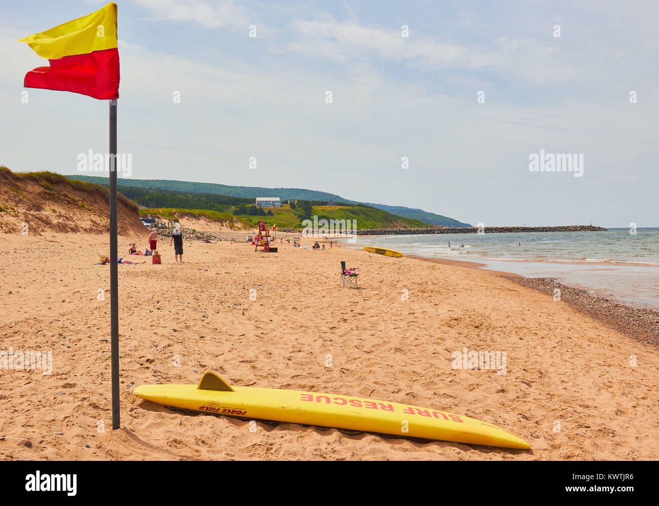 Surf rescue, Inverness beach, Inverness County, Cape Breton Island, Nova Scoatia, Canada. West coast of Cape Breton Stock Photo