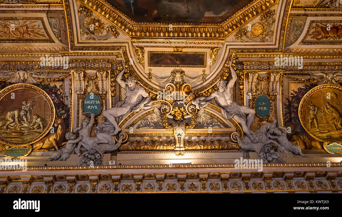 PARIS, FRANCE, MARCH 17, 2017 : architectural details and ceilings of gallery of Apollon,  march 17, 2017, in Paris, - Stock Image