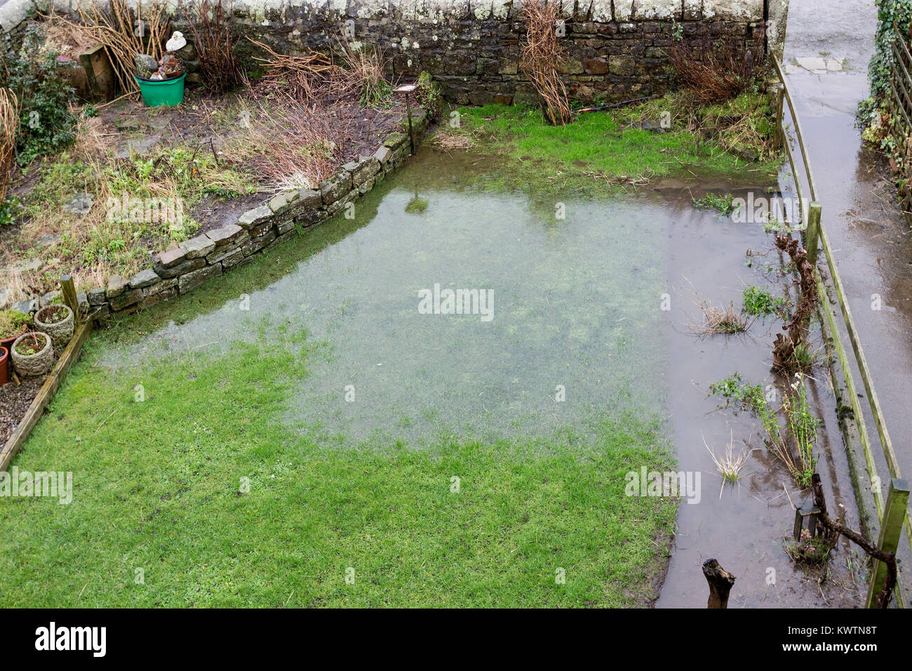 Flooded Garden Caused by Heavy Rain, England, UK - Stock Image