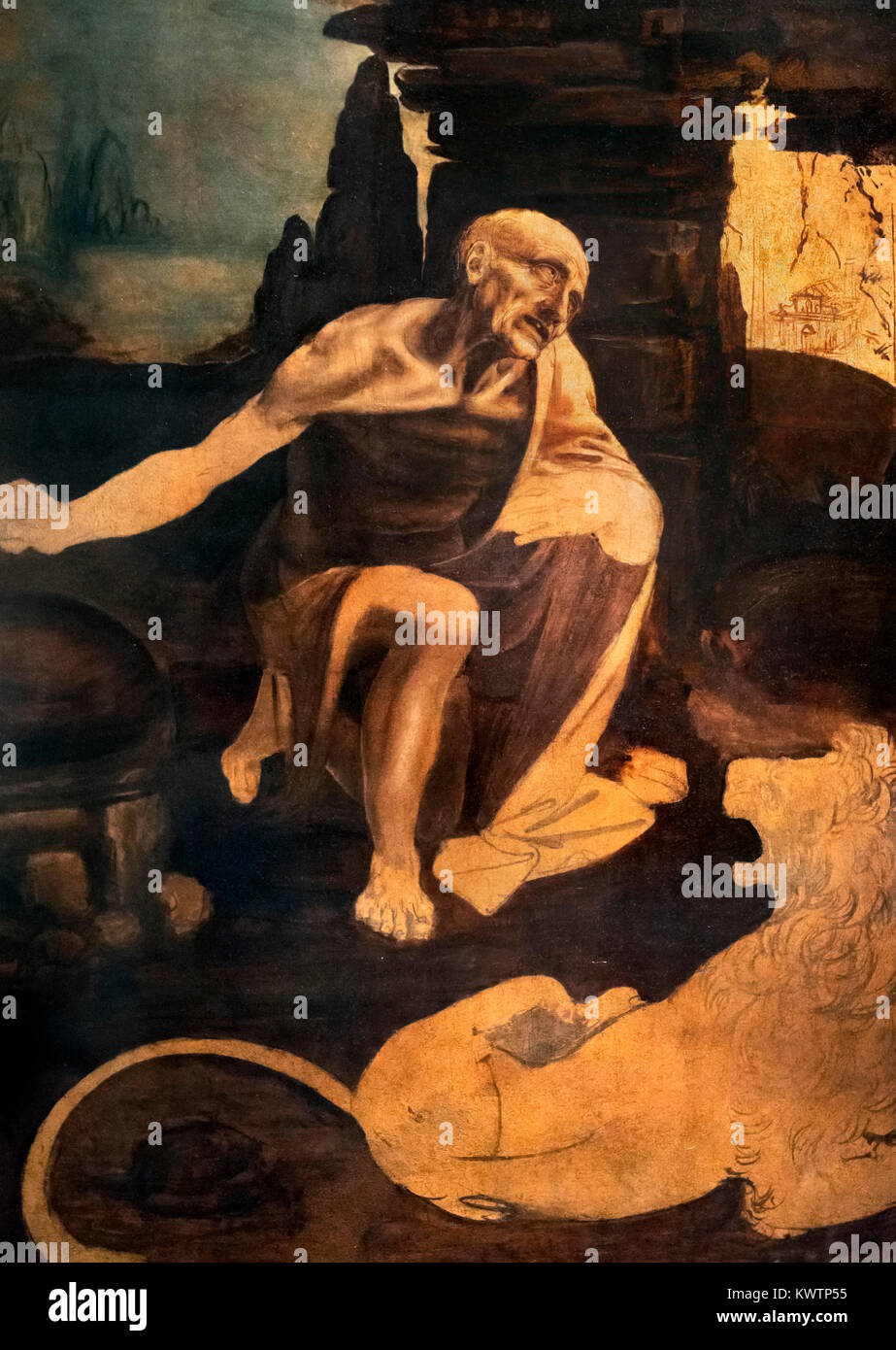 St Jerome in the Wilderness by Leonardo da Vinci (1452-1519), oil on panel, c.1482 - Stock Image