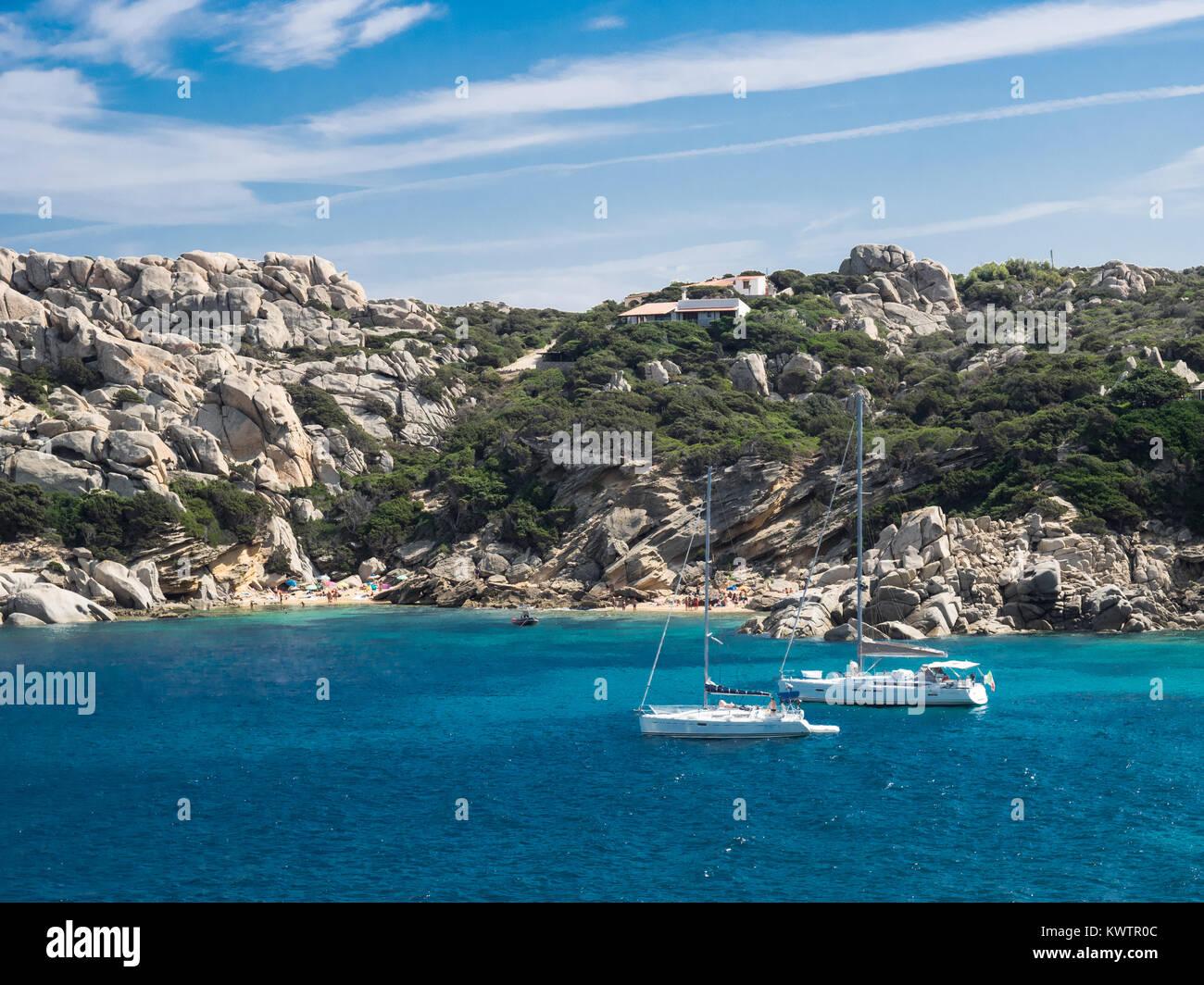 boats at Capo Testa, Sardinia - Stock Image
