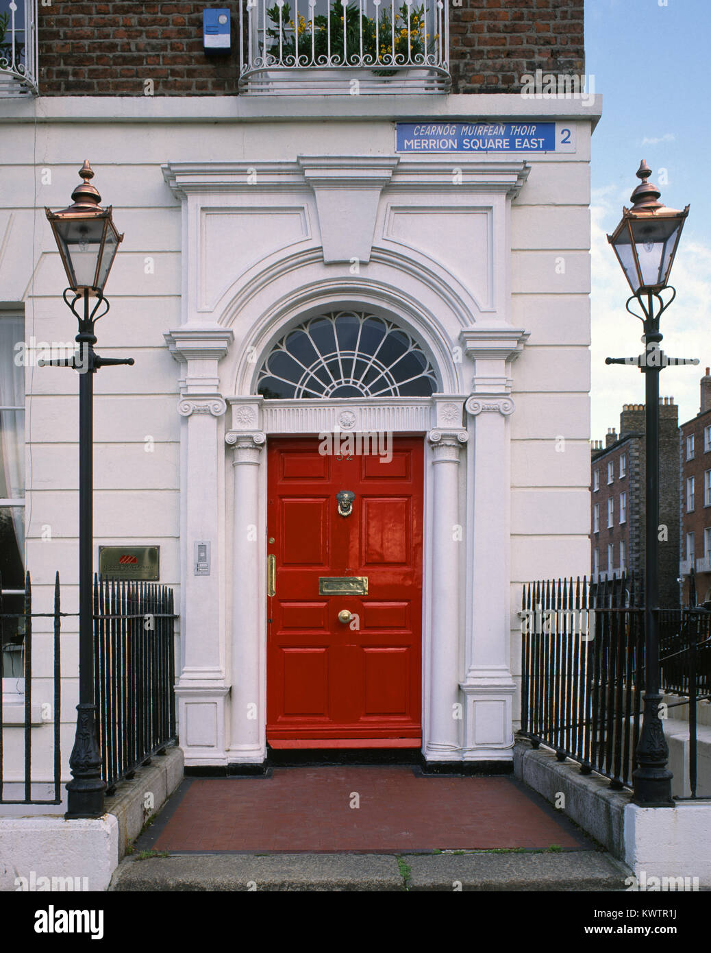 Red coloured door in Merrion Square Dublin County Dublin Ireland & Red coloured door in Merrion Square Dublin County Dublin Ireland ...