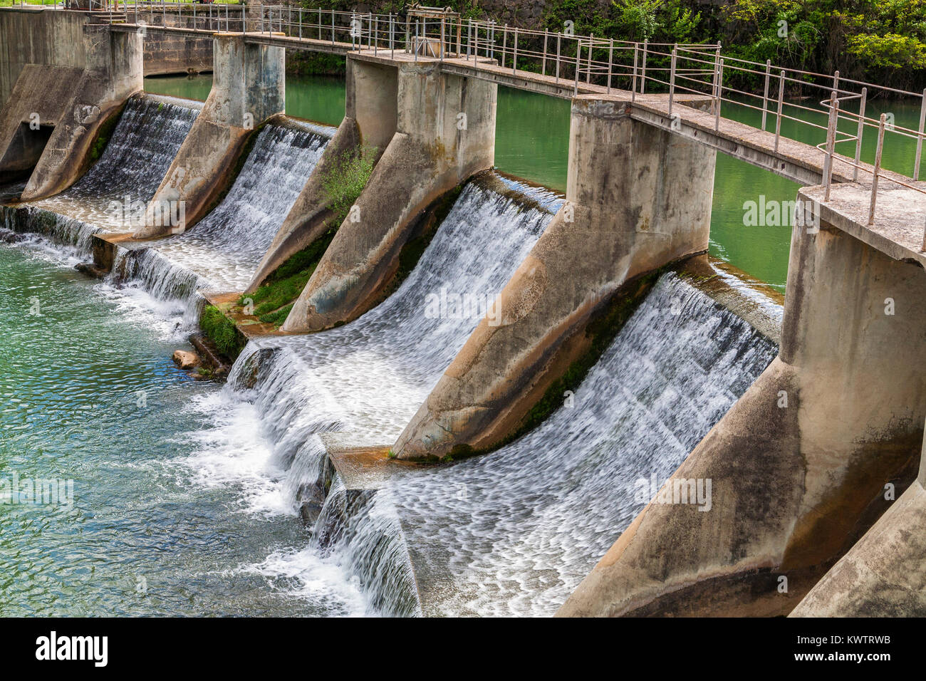 Concrete sluice on Llobregat river in Catalonia, Spain - Stock Image
