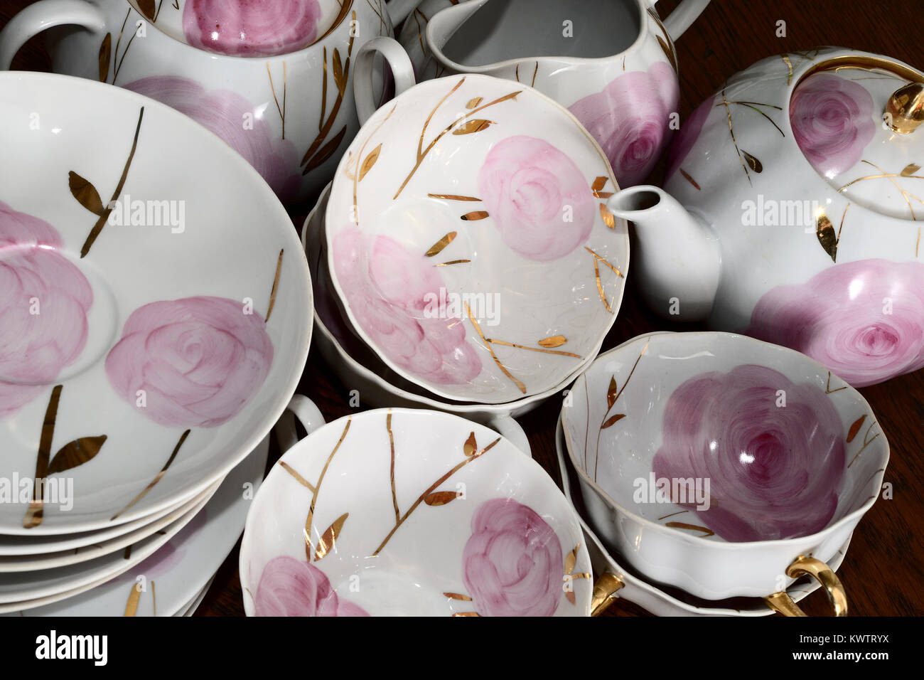 traditional Russian porcelain tea set flowers and gold & traditional Russian porcelain tea set flowers and gold Stock Photo ...