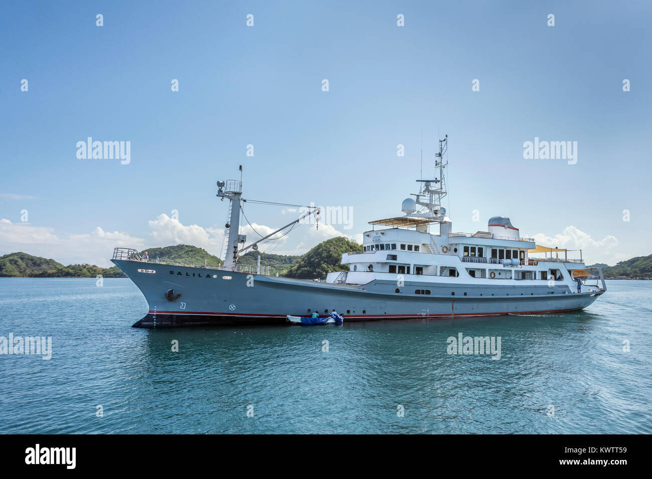 Motor launch Salila off Labuan Bajo, West Flores Island, Indonesia - Stock Image