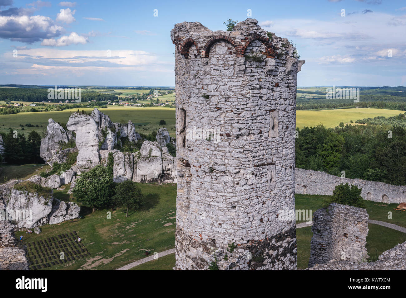View from tower of Ogrodzieniec Castle in Podzamcze village, part of the Eagles Nests castle system in Silesian Stock Photo