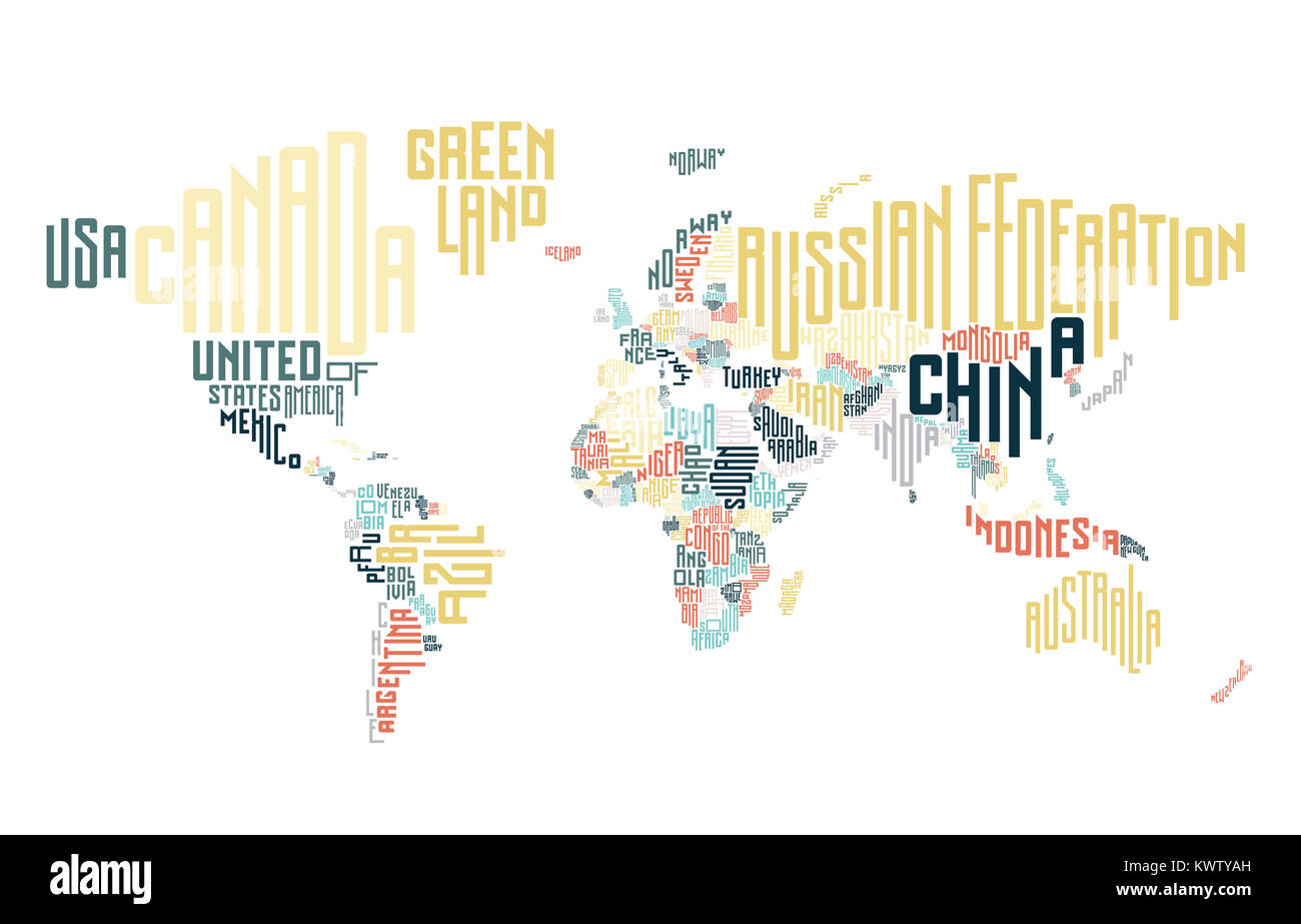 World map made of typographic country names. Stock Photo