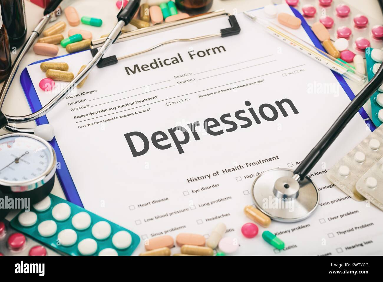 Medical form on a table, diagnosis depression - Stock Image