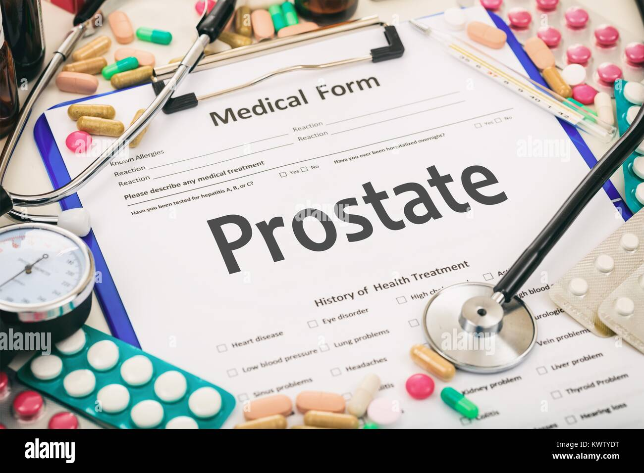 Medical form on a table, diagnosis prostate - Stock Image