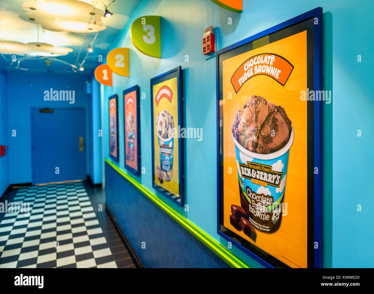 Corridor in Ben and Jerry's ice cream manufacturing headquarters in Waterbury, Vermont, USA. Ben & Jerry's - Stock Image