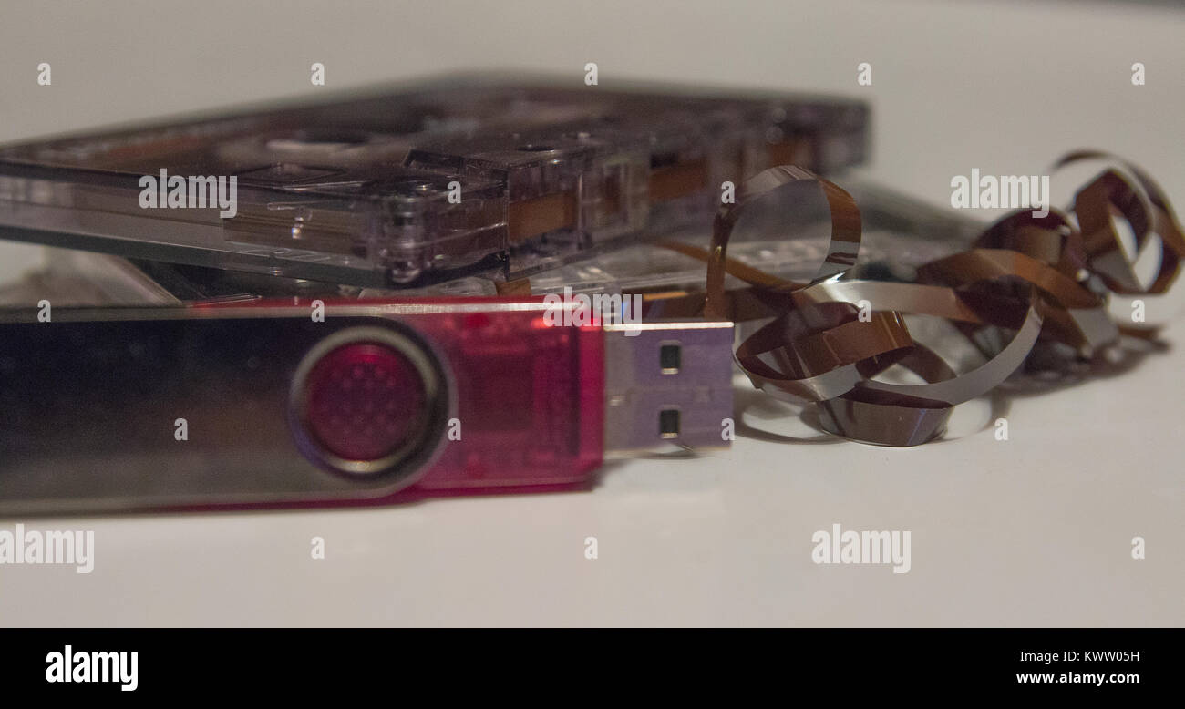 flash disk and audio cassette - Stock Image
