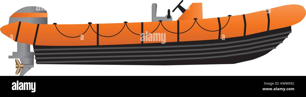 A Vector Illustration of an Orange Grey and Black High Speed inflatable inshore rescue boat with a powerful outboard - Stock Vector