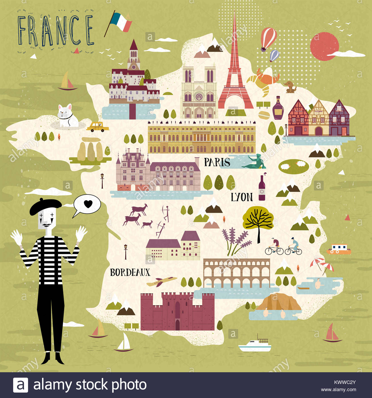 adorable france travel map with attractions and specialties stock