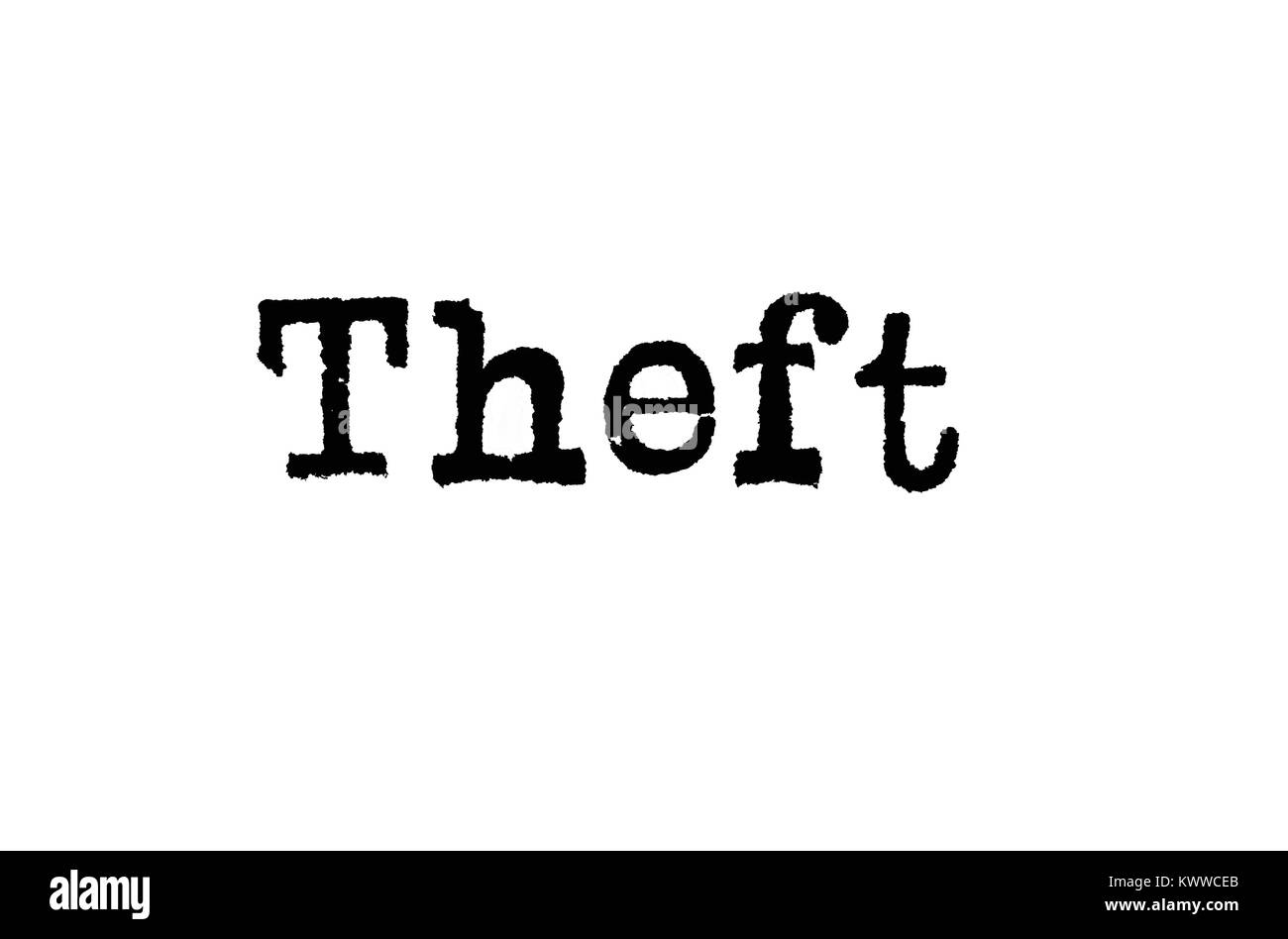 The word 'Theft' from a typewriter on a white background - Stock Image