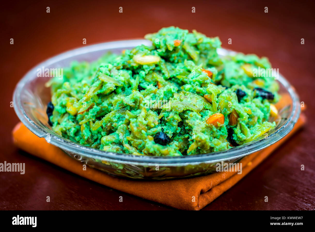 Halwa of  Lagenaria siceraria,bottle guard[Dudhi ka halwa] an Indian sweet dessert served before or after lunch - Stock Image
