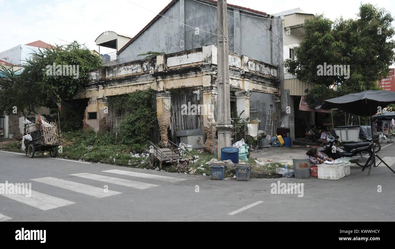 Art Deco Dilapidated Derelict Building Takeo, Cambodia Decrepit Third World Underdeveloped Country South East Asia - Stock Image