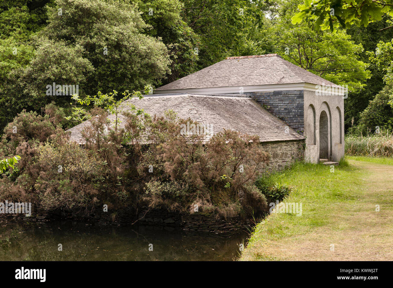 Antony House, Torpoint, Cornwall, UK. The exterior of the Bath House of 1784 with its plunge pool - Stock Image
