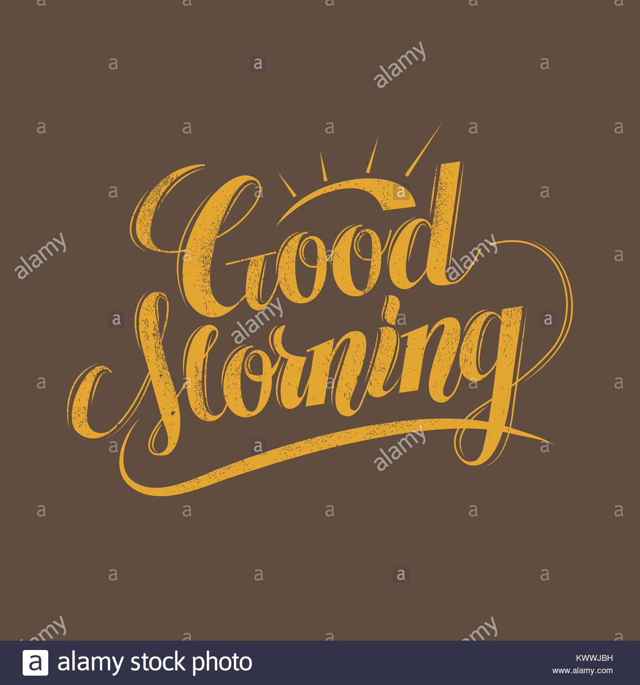 Retro Good Morning Calligraphy Design Over Brown Background