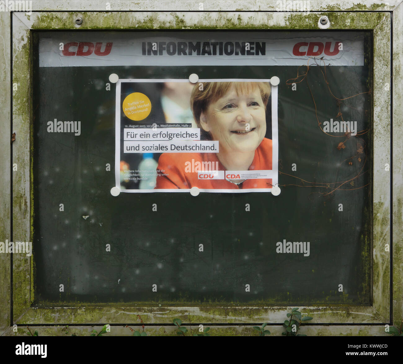 Angela Merkel, the Chancellor of Germany and the leader of the Christian Democratic Union (CDU), depicted in the - Stock Image