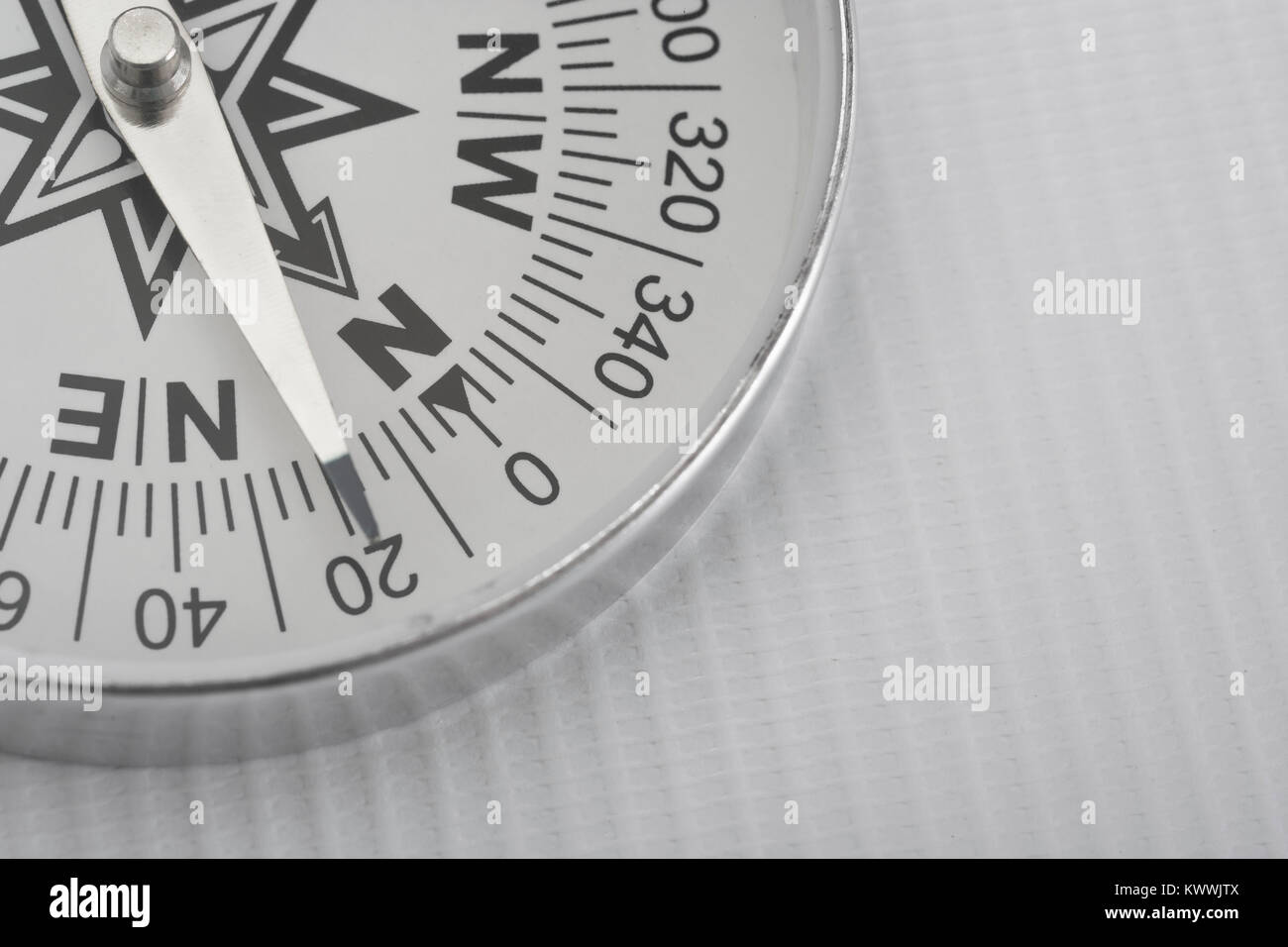 Macro-photo of compass rose face with needle. Concept navigation, compass north. - Stock Image