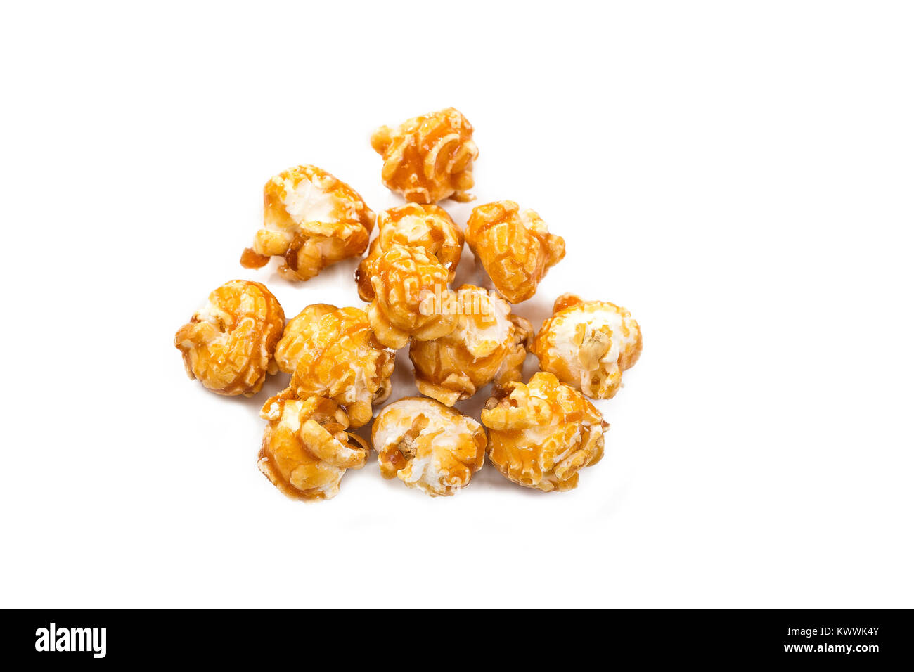 Popcorn isolated on a white background with clipping path - Stock Image