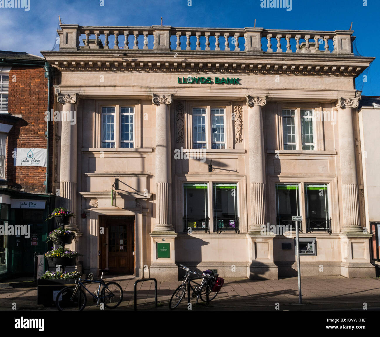 Lloyds bank exterior, High Street, Sidmouth, Devon, England, UK - Stock Image