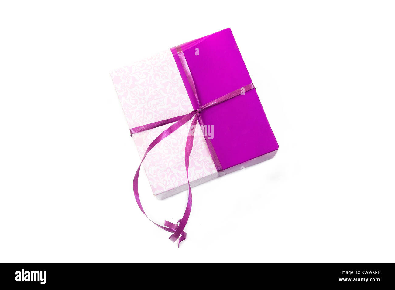 Gift box parcel in wrapping paper tied with purple color ribbon gift box parcel in wrapping paper tied with purple color ribbon packaging mock up on white negle Gallery