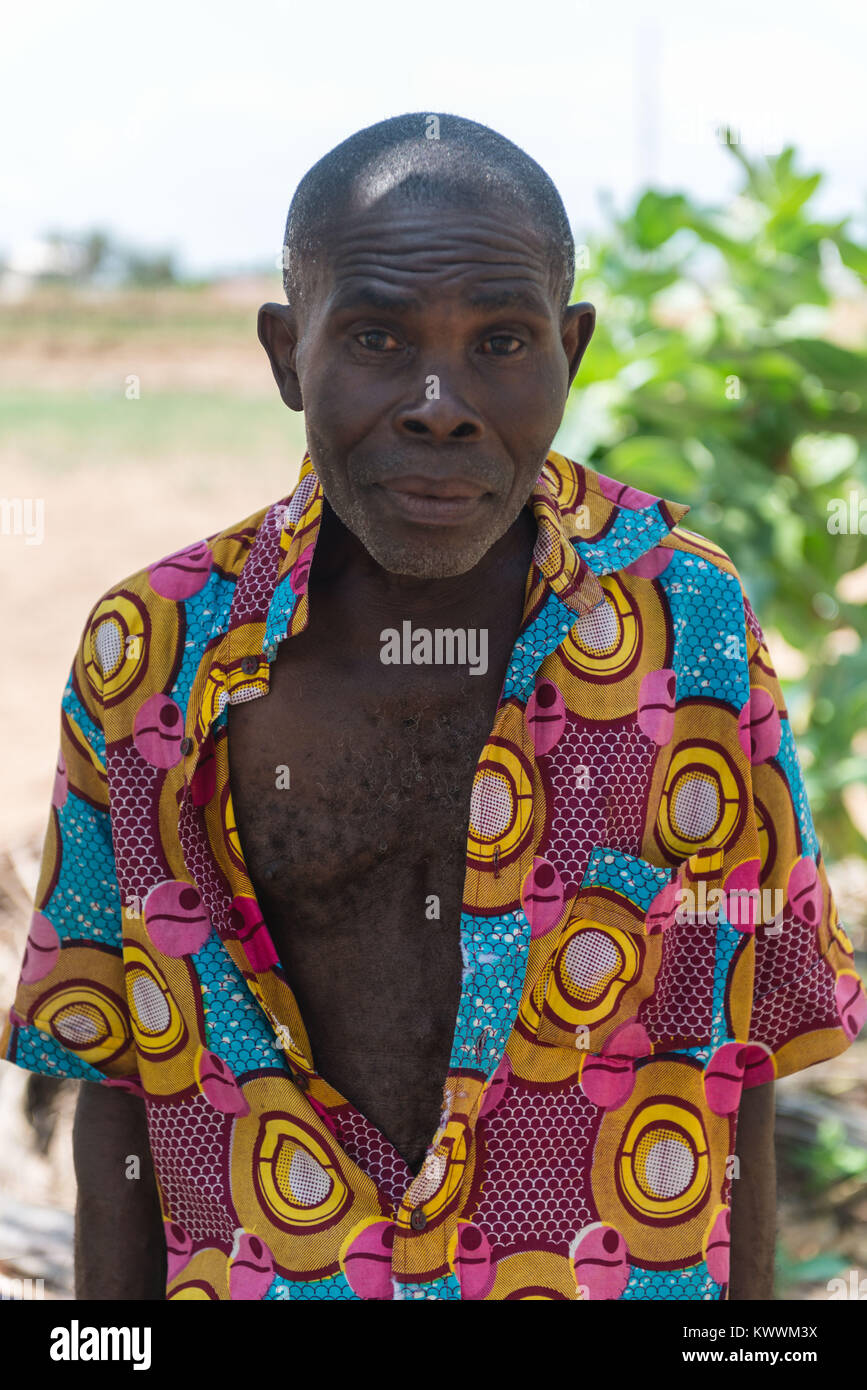 Helper on a farm, Anloga, Volta Region, Ghana, Africa - Stock Image