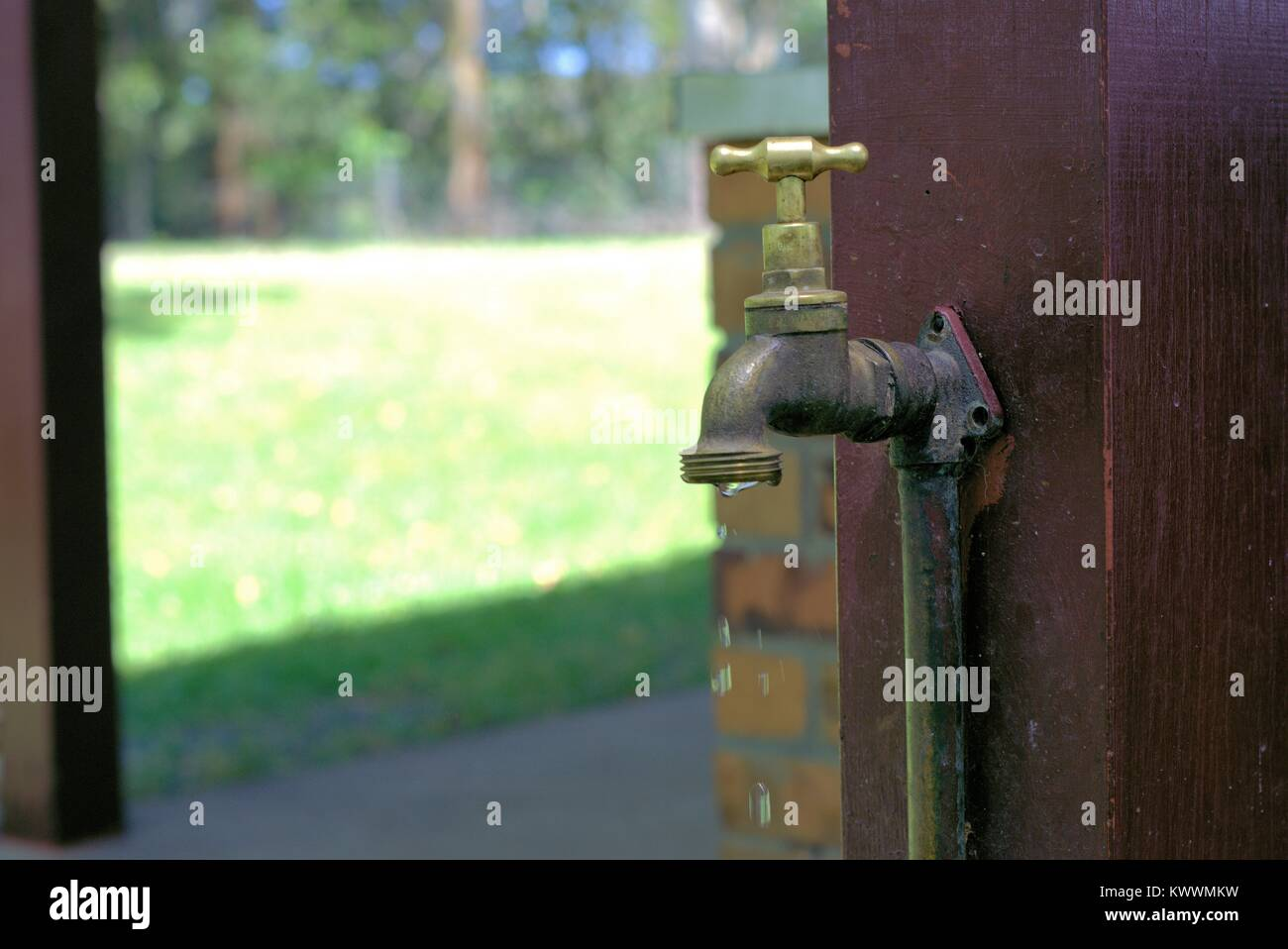 Dripping Water tap. Water leaking from tap. Water faucet. Day time Image of metal tap with running water. Water - Stock Image